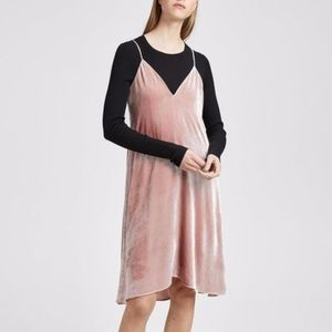 Theory crushed velvet blush pink tutu dress